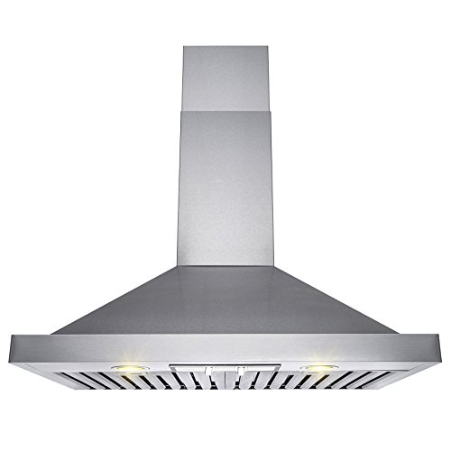 Perfetto Kitchen and Bath 30″ Wall Mount Stainless Steel Knob Control Baffle Filters Kitchen Range Hood Cooking Vent