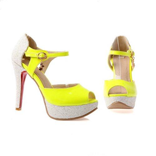 Morbido Sandali Materiale Giallo Colori Open Piattaforma Con Peep Tacco Womens 3 Toe 5 Robusti Alto Voguezone009 Uk Pu Fibbia Tacchi Assortiti wvqP6Tx