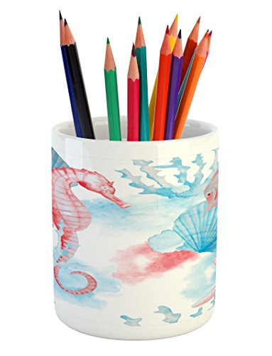 Lunarable Nautical Pencil Pen Holder, Shells Sea Horse Corals Fish Sandy Beach Exotic Stylized Watercolor Effect, Printed Ceramic Pencil Pen Holder for Desk Office Accessory, Coral Blue White (Cafe Table Coral)