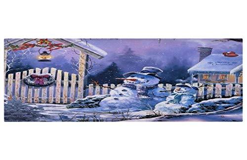 - ROCOSYTR Kitchen Rug Runner Doormat Christmas Holiday Night Outdoor Parent Child Snowman Wooden Fence Snow Covered House Roof Door Pine Wreath Oil Lamp Bathroom Rugs Doormats Floor Mats 16