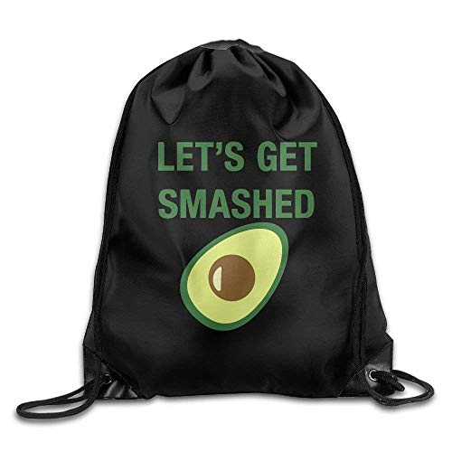 (HHELI Best Gifts,Very Sturdy,Lightweight,Adjustable String Drawstring Backpack Avocado Let's Get Smashed Drawstring Backpack Rucksack Shoulder Bags Training Gym Sack For Man And Women)