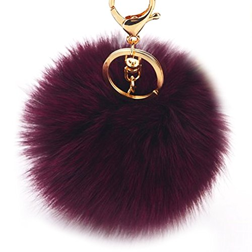 Dikoaina Faux Fox Fur Pom Pom Keychain Bag -