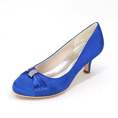 Alto La L Fino El Color Mujer Código Blue Multicolor Partido Zapatos Tacón Cómodo Para De Boda yc Con Raso qpfSI