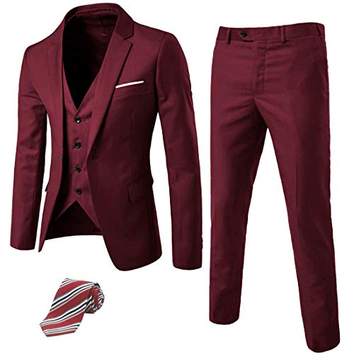 MY'S Men's 3 Piece Suit Blazer Slim Fit One Button Notch Lapel Dress Business Wedding Party Jacket Vest Pants & Tie Set Burgundy (Best Suits For Men)