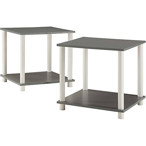 Mainstays Set of 2 No Tools Single Cube Storage Shelf Side Tables, Gray