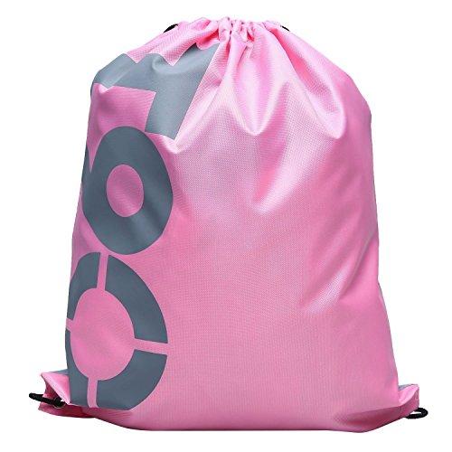 Swimming Drawstring Beach Bag Sport Gym Waterproof Backpack Duffle Pink - 1