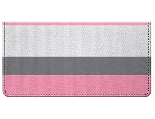 Snaptotes Pink Gray Thick Stripe Design Checkbook Cover