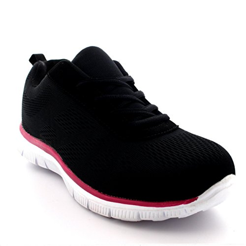 Get Fit Womens Mesh Go Running Walk Gym Shoes Sport Athletic Run Sneakers - Black/Pink/White - US6/EU37 - BS0068 IjHlhWEwi