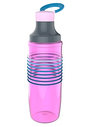 Zak Designs HydraTrak Chug Single Wall Bottle with 8 Ombre Magenta Bands, 24 oz, (Insulated Band Bottle)