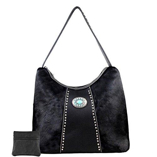 Leather Black Shoulder Hair Handbag Purse W Hobo Coin Western Bundle 4x14qCrHw