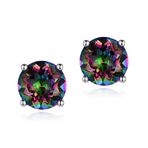 6mm Natural Rainbow Quartz Gemstone Platinum Plated Stud Earrings Gift for Women