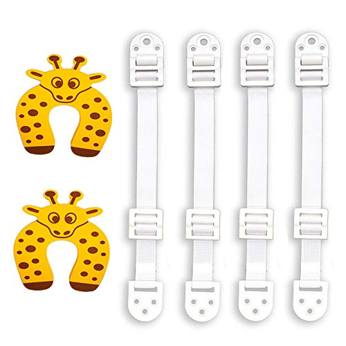 InfantGear- (10-Pack) Furniture & Anti-Tip Anchors & Two Door Stoppers For Baby Proofing| Anti-Tip Straps| Furniture Straps For Baby Proofing Earthquake Resistant Furniture Straps