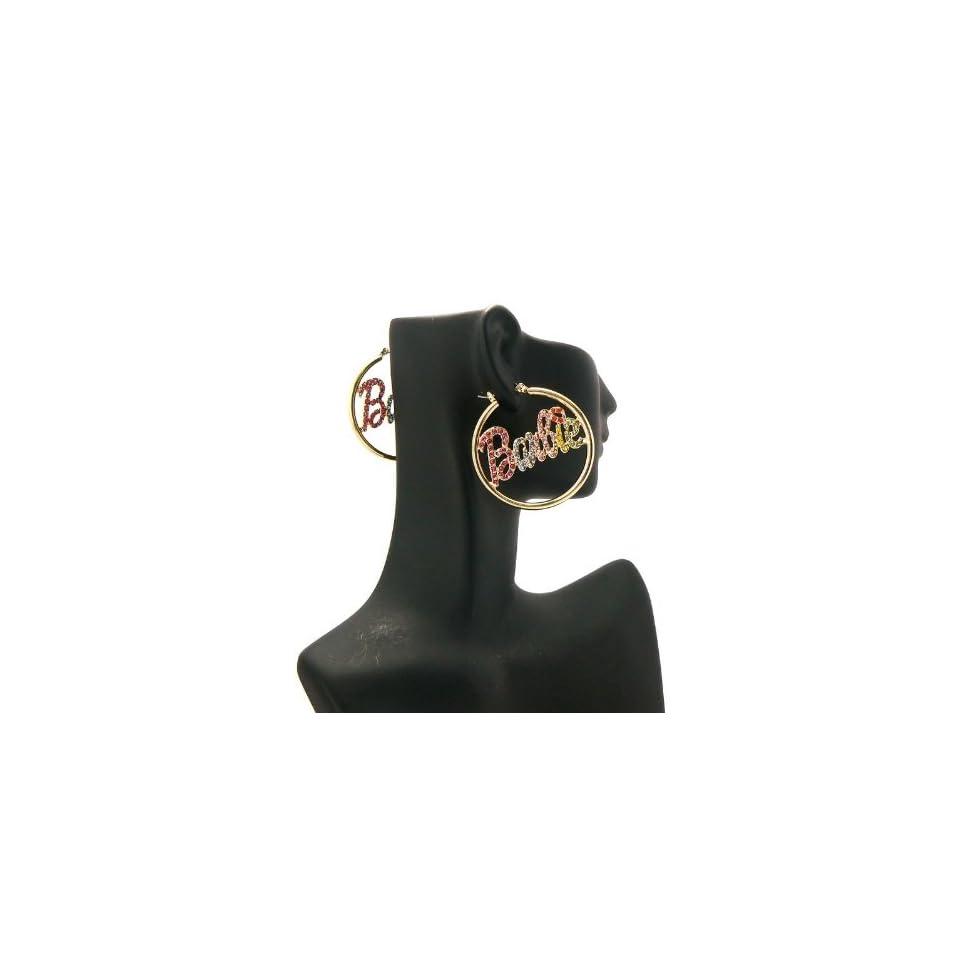 NICKI MINAJ BARBIE Thin Hoop Rhinestone Earring Small Gold/Multi