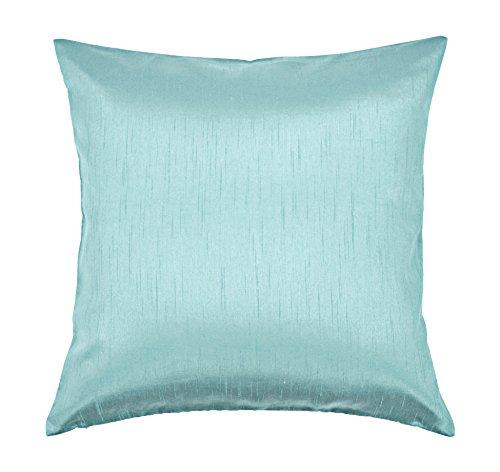 (Aiking Home Solid Faux Silk Decorative Pillow Cover, Zipper Closure, 18 by 18 Inches, Aqua)