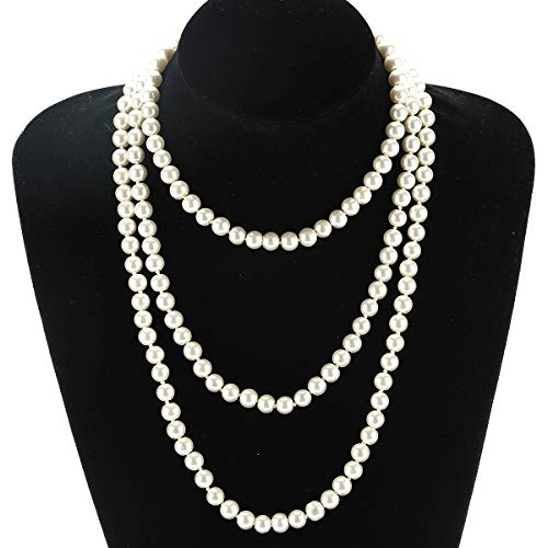 Utop Simulated Pearl Strand Necklace for Women 8mm Pearl Bead Manual Collar Necklace White Long 55