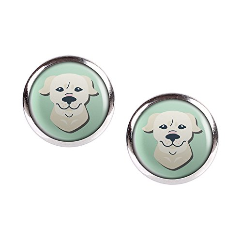 Mylery Stud Earring Pair with Cabochon Picture Dog Golden Retriever Silver 0.47 inch