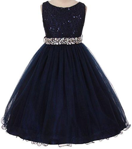 [Big Girls Gorgeous Shiny Tulle Beaded Sequin Rhinestone Belt Flower Girl Dress Navy 8 (M3B4K0)] (Blue Sequin Corset)