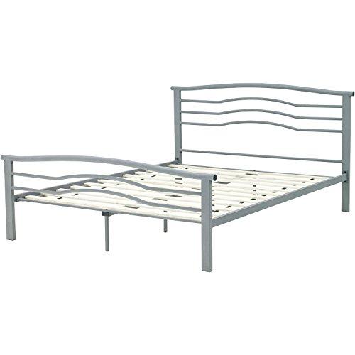 Hanover HBEDMID-QN Midtown Metal Platform Bed Frame, Queen, Metallic - Nickel Finish Metal Headboard