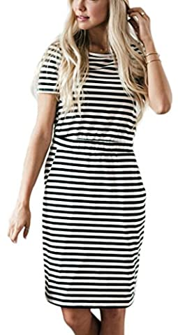 NENONA Women's Classic Striped Pineapple Print Short Sleeve Pocket Casual Midi Dresses(Striped-S) (Midi Cotton Dress)