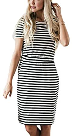 NENONA Women's Classic Striped Pineapple Print Short Sleeve Pocket Casual Midi Dresses(Striped-L)