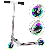 ChromeWheels Kick Scooter for Kids, Deluxe 4 Adjustable Height 2 Wheels with LED Flashing Light, for Age 5 up Kids, 132lb Weight Limit, Black