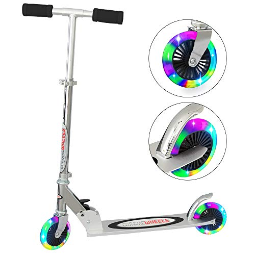 ChromeWheels Kick Scooter for Kids, Deluxe 4 Adjustable Height 2 Wheels with LED Flashing Light, for Age 5 up Kids, 132lb Weight Limit, Black by ChromeWheels