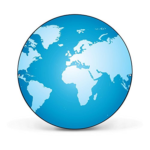 banjado - Magnettafel rund 47cm Ø aus Stahl schwarz oder weiß lackiert mit Motiv Weltkarte, Magnettafel rund schwarz