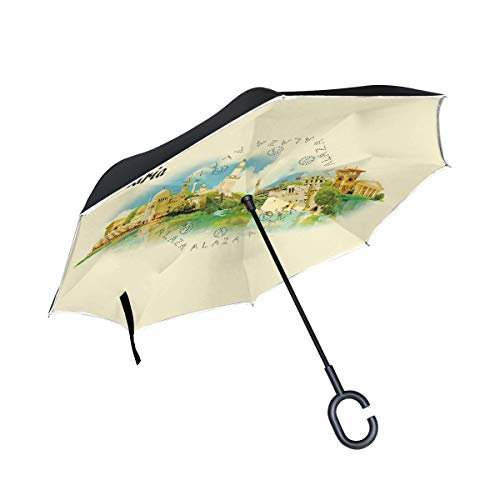 Anyangquji Inverted Reverse Umbrella Alexandria City Panoramic Double Layer Windproof UV Protection Folding Umbrellas with C-Shape Handle for Car Outdoor Travel (Alexandria Double Handle)