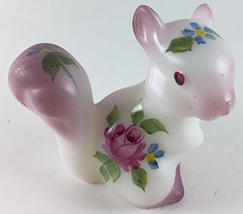 Fenton Art Glass Squirrel - American Made - Pink Rose with Pink ()