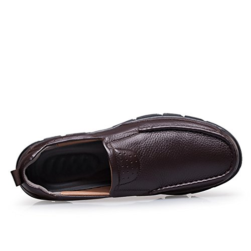 Minitoo Casual Rubber Sole Work Penny Loafers Walking Shoes Brown