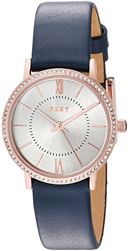 DKNY Women's 'Willoughby' Quartz Stainless Steel and Leather Casual Watch, Color:Blue (Model: NY2553)