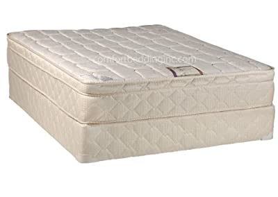 Continental Sleep, Plush 10-inch Innerspring Eurotop Mattress and Box Spring/Foundation Set, No Assembly Required, Queen Size