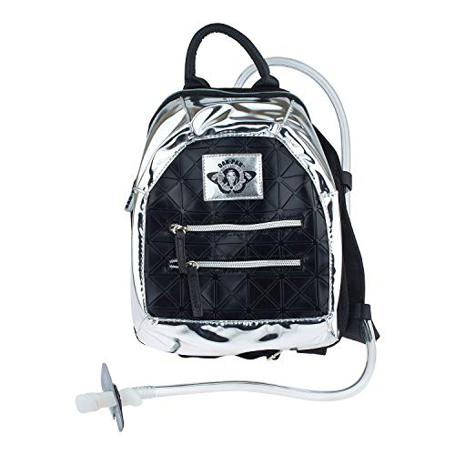 Dan-Pak Mini Hydration Pack- Black Tar- 1 Liter -Faux Leather Material with Silver