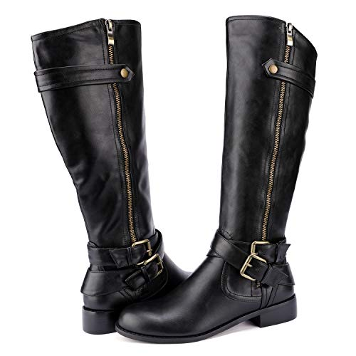 Odema Women's PU Leather Zipper and Buckle Knee-High Riding Boots Black - Knee Buckle Slouch Boot