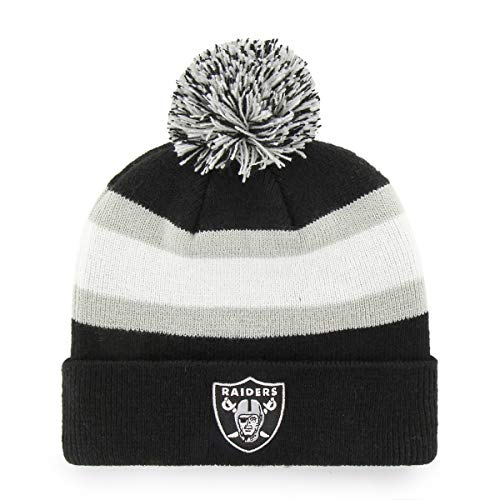 NFL Oakland Raiders Rush Down OTS Cuff Knit Cap with Pom, Black, One Size
