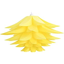 Lightingsky DIY IQ Jigsaw Puzzle Toy Lotus Flower Lamp Shade Ceiling Pendant for Room Decoration (1, Yellow)