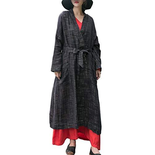 Black Lishihuan Lunghe Femminili Maniche Tasche Aperto Cardigan Davanti Con E qwzxw7IrR