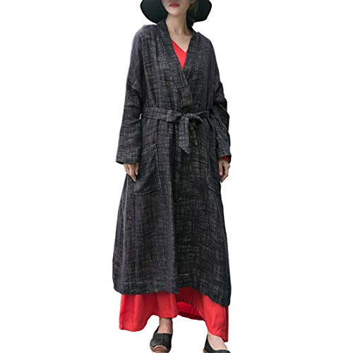 Cardigan Femminili E Lunghe Aperto Tasche Black Con Maniche Davanti Lishihuan dF0q8d