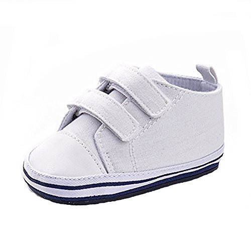 Enteer Baby Girls' Classic Solid Colors Rubber Canvas - Infant Canvas Shoes White