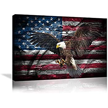 Retro American Flag Bald Eagle US Military Wall Art Canvas Prints Thin Blue Red Line Home Decor Pictures for Living Room Bedroom Painting Framed Ready to Hang