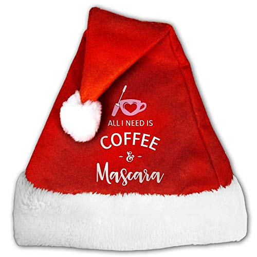 Red and White Christmas Hat, Cute Need is Coffee and Mascara Christmas Headbands for Childrens and Adults (2 PCS) (Hat Pimp Velvet)