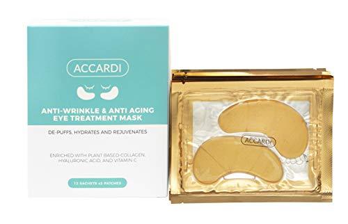 Accardi Vegan Under Eye Patches & Facial Mask   Anti Wrinkle & Anti Aging   Vegan Depuffing, Hydrating & Rejuvenating Eye Pads With Collagen, Vitamin C & Natural Ingredients   12 Pairs 1 Mask