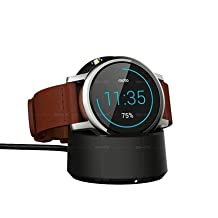 MOTO 360 2nd Gen/TicWatch Wireless Charger SIKAI® Patent Qi Wireless Charging Cradle for Motorola Moto 360 2nd Gen Smartwatch(Not for Samsung Gear S2 and AC Adapter not included)-Black