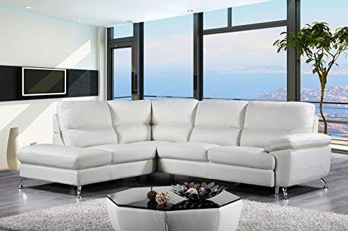 Cortesi Home Contemporary Miami Genuine Leather Sectional Sofa with Left Facing Chaise Lounge, Cream Cream Leather Sectional Sofa