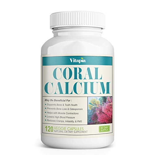 Vitapia Coral Calcium 1000mg - 120 Veggie Capsules - Vegan and Non-GMO - Promotes Healthy PH Balance - Supports Healthy Bones and Teeth