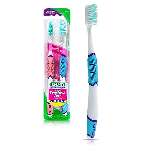 GUM – 516VP Technique Sensitive Care Toothbrush with Quad-Grip Handle, Full Ultra Soft Bristles, Twin Pack