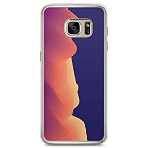 Samsung Galaxy S7 Transparent Edge Phone Case Waves Phone Case Minimalist Waves Phone Case Purple And Orange Samsung S7 Cover with Transparent Frame