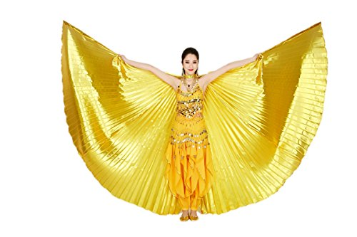 Stick Dance Costume (CISMARK Isis Wings Belly Dance Costume Prop Closed Back(Gold))