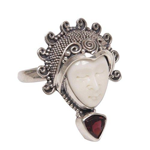 Bone Face Ring - NOVICA Garnet .925 Sterling Silver Bone Cocktail Ring 'Saraswati Face in Red'