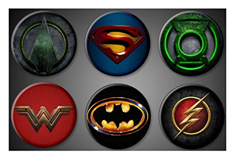 DC Comics Superhero Pins Pinback Batman Superman Wonder Woman Flash Green Arrow Green Lantern Set of 6 Superhero pins WonderWoman (Pin Superhero)